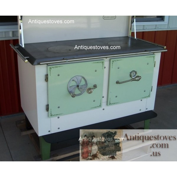 Kitchen Queen Wood Cook Stove: Kitchen Queen, Wood Cook Stove, Green And Cream